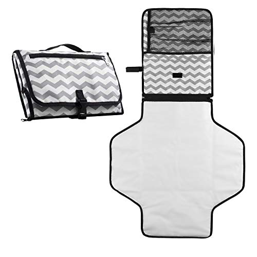 Black SONARIN Waterproof Portable Baby Nappy Changing Mat for Travel Fashionable Baby Changing Kit,Lightweight
