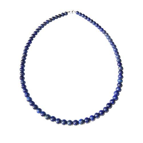Collar Lapislázuli 39cm - Bolas de piedra 6mm - Cierre de Plata