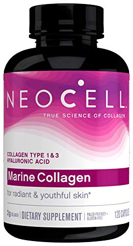 NeoCell Marine Collagen for Skin Hydration, Collagen Types 1 & 3, Paleo Friendly, Gluten-Free & Non-GMO, 120 Capsules (Package May Vary)