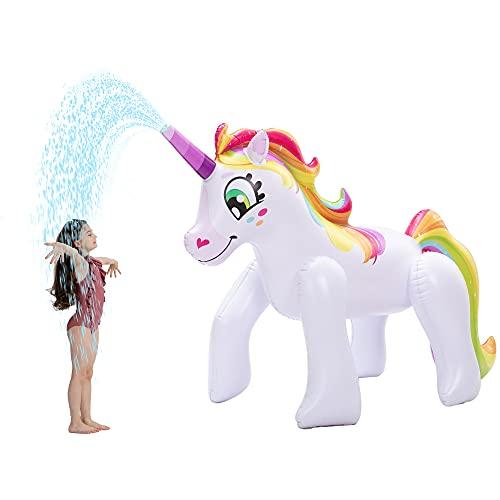 JOYIN Unicorno Gonfiabile Gigante, Esterno Giocattolo spruzzatore del Giardino per Bambini, Acqua Gonfiabile Diritta Dell'Unicorno Gioca 134cm alto