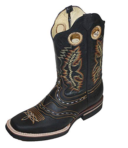 Men Cowboy Genuine Cowhide Leather Square Toe Rodeo Western Boots_Black_10.5