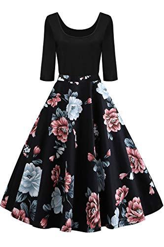 AXOE Damen Rockabilly Kleid Langarm 60er Jahre mit Blumenmuster Partykleid Farbe 6B, Gr.46, XXL