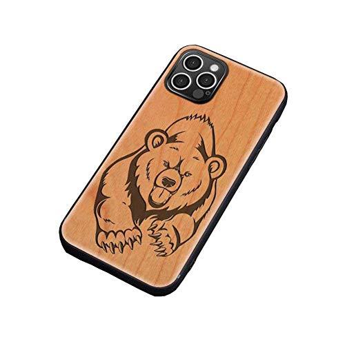 pengge Caja De Madera para iPhone 12 Pro MAX, Caja De Madera Natural con Clase única De Bajo Perfil De Bajo Perfil Fanáticos del iPhone, Brown Bear