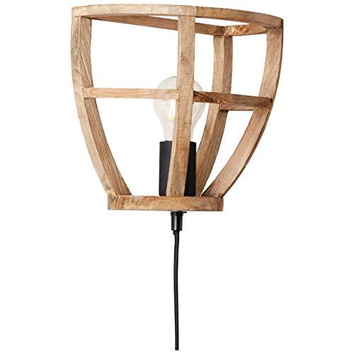 BRILLIANT lamp Matrix Nature wandspot antiek hout/zwart korund |1x A60, E27, 60W, geschikt voor standaardlampen (niet inbegrepen) |Schaal A ++ tot E |Met snoerschakelaar