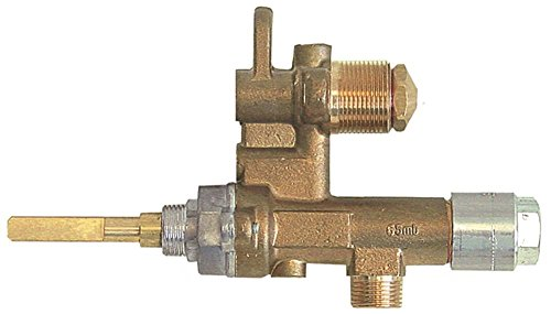 MADEC 170881 Gashahn für Gasherd Küppersbusch LGH605, LGH405, LGH607, LGH407 Thermoelementanschluss M8x1 Achse 6x4,6x37/17mm