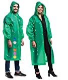 2 Pack 100% Vinyl Clear Raincoat Poncho, Long Sleeves with Snap Closure - Unisex Transparent Rain Jacket Coat, One Size Fits Most - GREEN - by Hartis