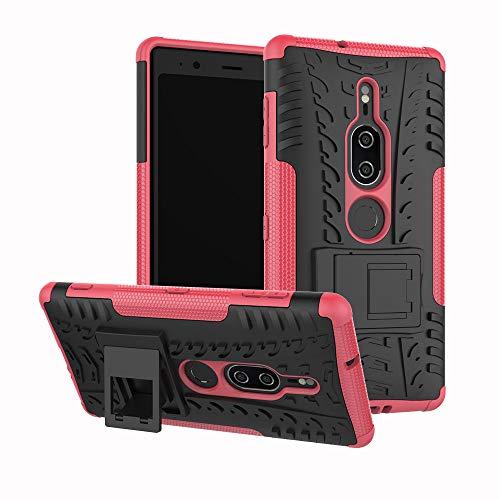 Capa premium para Xperia XZ2, JYZR resistente, camada dupla 2 em 1, resistente, resistente a impactos, capa traseira rígida com suporte para Sony Xperia XZ2 Premium - Rosa choque