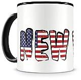 Samunshi® New York Tasse mit Spruch USA Amerika Geschenk für Mann Frau Kaffeetasse groß Lustige Tassen zum Geburtstag schwarz 300ml