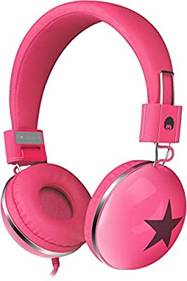 RockPapa 828 On Ear Star Headphones Foldable, Adjustable Headband for Kids/Adults, Smartphones Tablets Computer DVD Pink