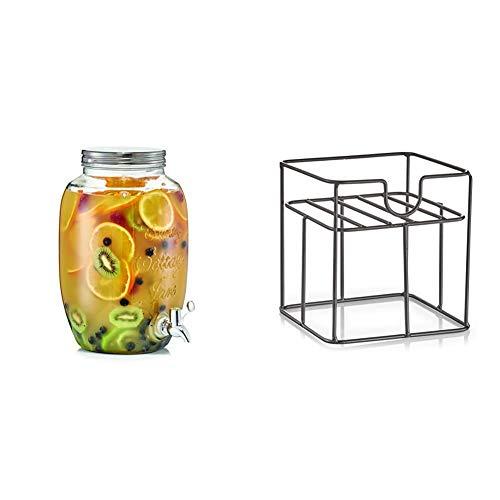 Zeller 19725 Getränkespender Countrystyle, 5 ltr, Glas, ca. 18,5 x 18,5 x 30 cm + Ständer, für 5 ltr. Getränkespender 19725, Metall, ca. 18,5 x 18,5 x 19 cm