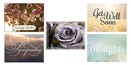Sympathy and Get Well Greeting Card Assortment - VP1604. Greeting Cards Featuring Two Get Well and Three Sympathy Cards. Box Set Has 25 Greeting Cards and 26 Bright White Envelopes.