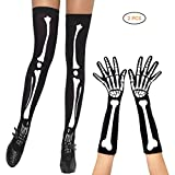 Mallalah Skeleton Printing Long Arm Guantes de Dedo Completo Esqueleto Muslo Calcetines Altos Set Cosplay Halloween Party Costume Cosplay Party Disfraces de Halloween