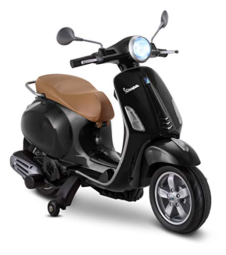 Kid Trax Toddler Vespa Scooter Electric Ride On Toy, 3-5 Years Old, 6 Volt, Max Weight 60 lbs, Black, 6V (KT1419AZA)