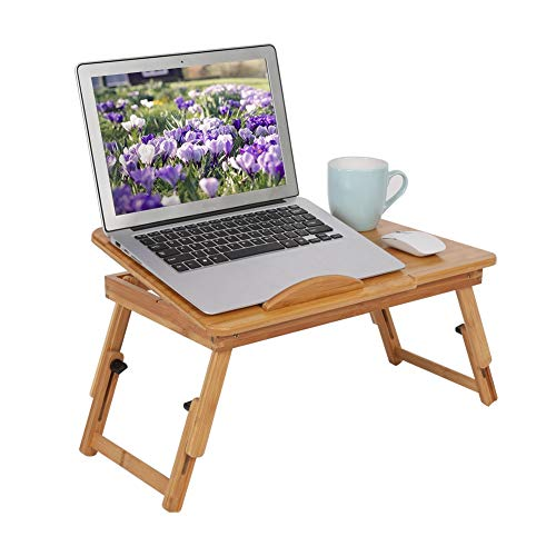 Bamboo Laptop Stand Desk, Lap Standing for Bed and Sofa, Cozy Portable Adjustable Laptop Table Drawer Cup Holder Serving Tray for Eating Breakfast, Reading Book, Watching Movie on iPad