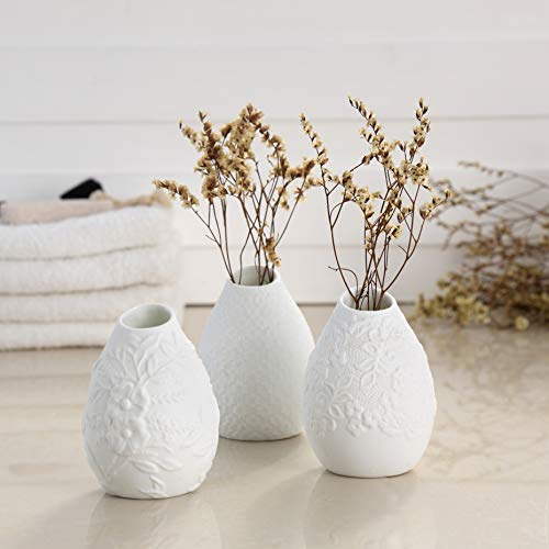 Ceramic Flower Bud Vase - Bud Vase Decorative Flower Arrangement Modern Elegant Vase for Home Decor Room Office and Place Setting Ideal Vase Gift for Friend, Family, Party Wedding Set of 3 White