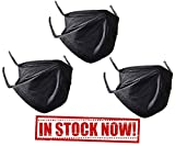 Outdoor face mask for Men, Woman, Kids. Anti dust mask for Moving, Sports. Washable Black Mouth mask. (3 Packs) (Large (3 Packs))