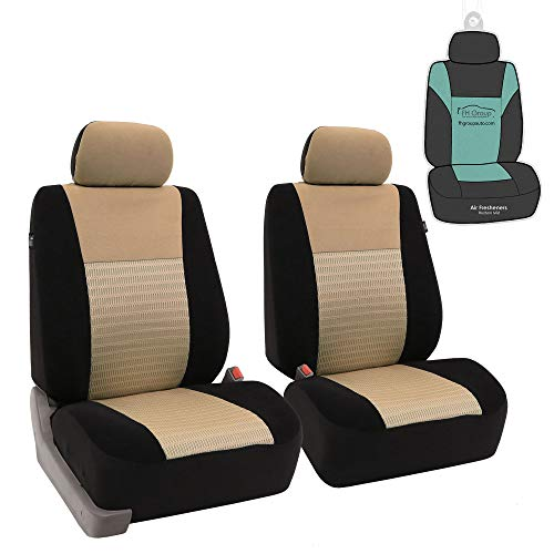 FH Group FB060102 Trendy Elegance Pair Set Bucket Car Seat Covers, (Airbag Compatible) w. Gift, Beige/Black Color-Fit Most Car,...