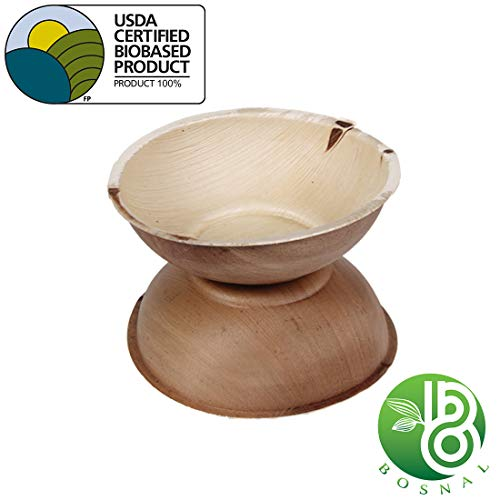 Bosnal Palm Leaf Round Bowls; Upscale Disposable Dinnerware; All-Natural, Chemical Free, Compostable, Biodegradable Bowls; Ideal Alternative to Plastic and Paper– 6 Inch (25 pack)