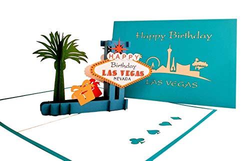 iGifts And Cards Unique Happy Birthday Blue Cover Las Vegas 3D Pop Up Greeting Card - Fun, Special Occasion, Congratulations, Celebration, Feliz Cumpleaños, Best Friend, Cute, Sin City, Famous, Unique
