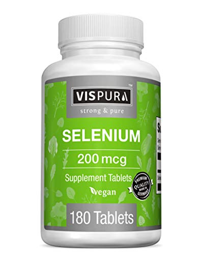 Selenium 200 mcg Supplement, 180 Vegan Tablets for Immune System, Thyroid, Prostate and Heart Health*, Organic, Natural & Gluten Free Trace Mineral Without Additives