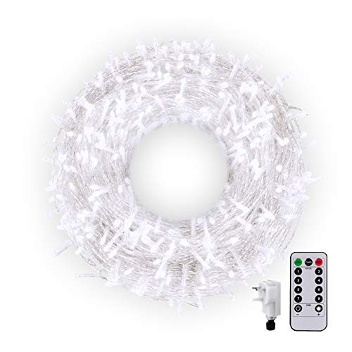 50M 300LED Outdoor String Light Main Powered Outside Long Fairy Light String Plug in Twinkle Light Waterproof 8Mode with Remote for Indoor Garden Room Valentine's Day Decor(White)