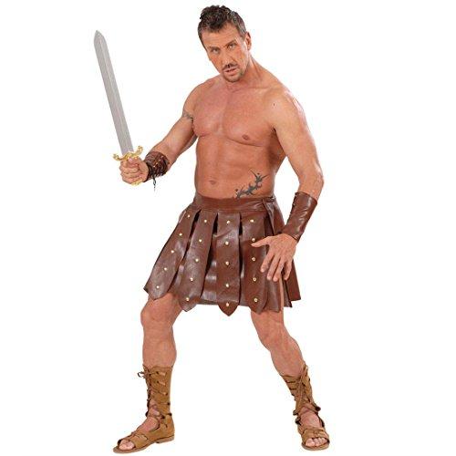 Gladiator Kostüm Rock und Armbänder Kunstleder Lederrock und Armschnallen Antike Römerkostüm Römischer Krieger Faschingskostüm Gladiatoren Kostümset