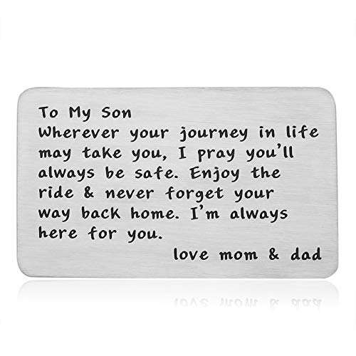 Father's Day Gifts for Son , To My Son Gifts from Mom Dad, Son Gifts Stepson Gifts Graduation Gifts for Son Teen Inspirational Wallet Insert Cards 16th 18th Birthday Christmas Wedding Presents for Sons Boys