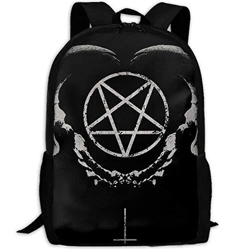 TRFashion Rucksack Gothic Occult Satan Penta Symbol Skull Unique Outdoor Shoulders Bag Fabric Backpack Multipurpose Daypacks