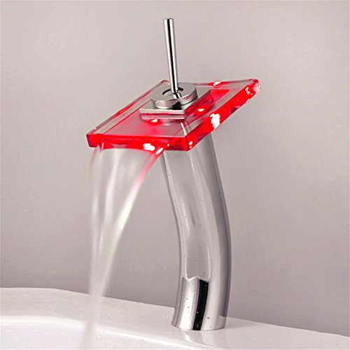 Waterkraan voor wastafels, waterkraan voor wastafel met sleutels, modieus, wastafel, kraan rechtstreeks van de fabriek tot de grootste LED-weergave van de temperatuur van de glazen kraan B0FE