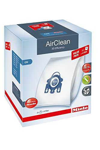 Miele AirClean 3D XL-Pack GN Dust Vacuum Bag, White, 8 Count