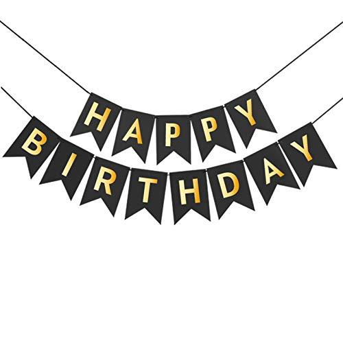 FRIUSATE Guirnalda Feliz Cumpleaños Pancarta Feliz Cumpleaños Banner Feliz Cumpleaños Banner Happy Birthday Bandera Papel Guirnalda Colgar de Cola de Pez para Adultos Niño Niña(Negro)