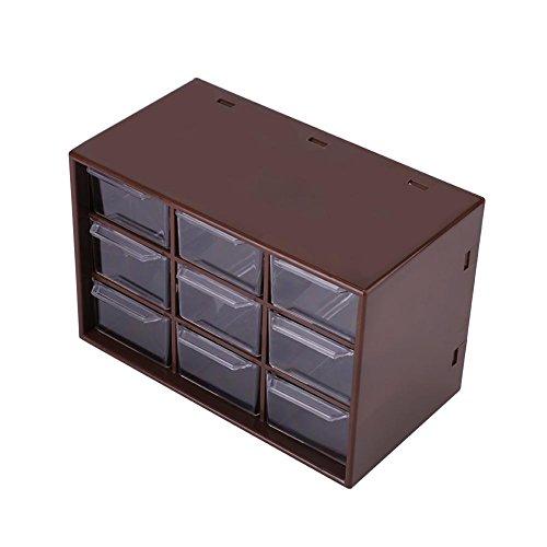 Yosoo123 9 Cajones de Almacenamiento de Escritorio Portátil de Plástico 9 Enrejados Mini Gabinetes Cajón Joyería Cosmética Caja de Almacenamiento(Marrón)