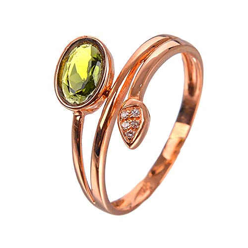 Amody Women Rings 18K Rose Gold, Wedding Anniversary Rings for Women Minimalist Ring with Green Tourmaline Size R 1/2