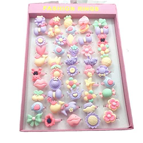 50 pcs Little Girls Adjustable Rings, Princess Jewelry Finger Rings Girl Pretend Play and Dress up Rings for Children Kids - Random Style … (flower)