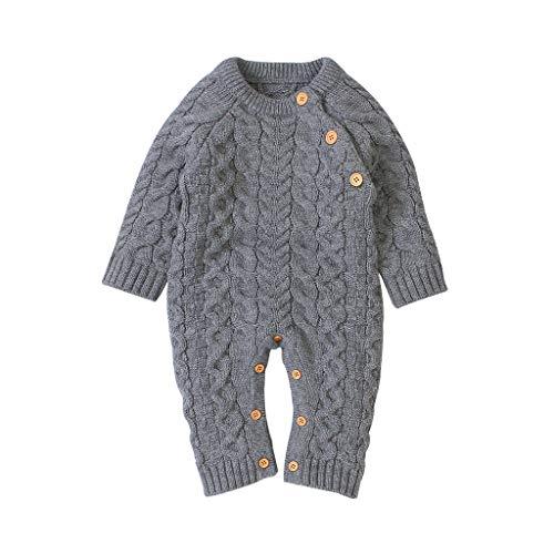 Patifia Baby Overalls mit Kapuze Winter Gestrickt Lange Ärmel Taste Strampler Spielanzug Kleines Ohr Jumpsuit Kleidung für 0-24 Monate (6-12 Monate, v-Grau)