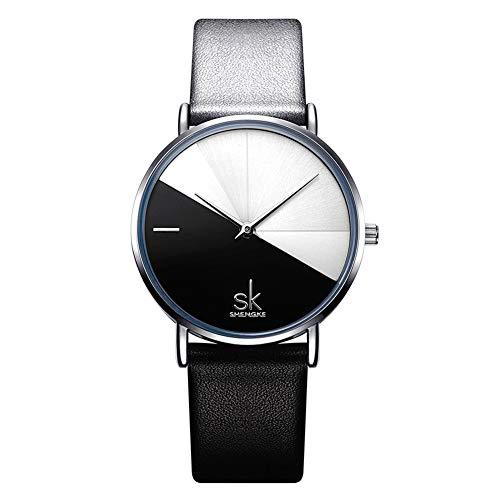 SW Watches Damenuhren Mode minimalistische Lederarmbanduhr Vintage Damen Quarz Uhr,Black