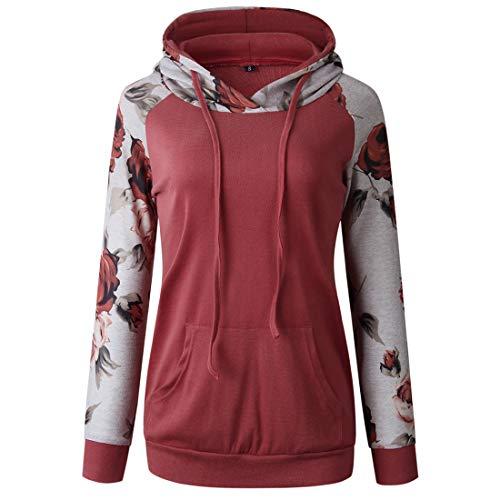 Women Hoodie Women Sweatshirt Elegant Slim Comfortable Loose Fashion Sexy Splicing Hoodie Retro Floral Kangaroo Pocket Long Sleeve Women Hoodie Trendy Ladies Clothing D-Red XL