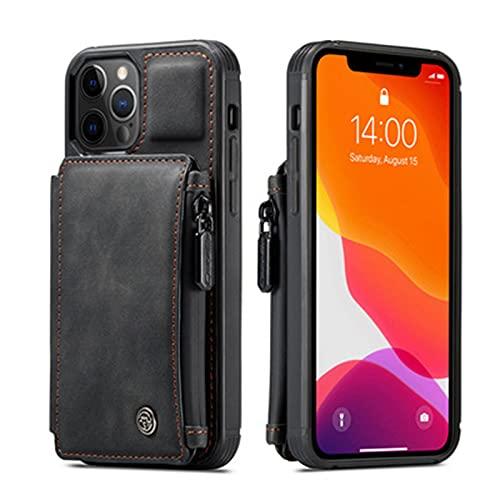 Fundas y Carcasas para teléfonos móviles Adecuado para iPhone12 Mini Tarjeta multifunción Retro Mate,Black,iPhone XR