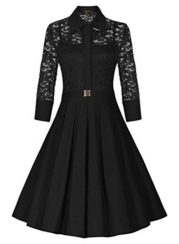 Miusol Damen Spitzen 3/4 Aermel Elegant Revers Cocktailkleid 1950er Jahre Faltenrock Party Kleid Schwarz1 Gr.S - 3