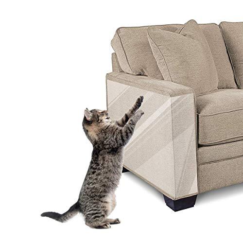 """Focuspet Kratzschutz, 10 Stücke Kratzabwehr Katzen Anti Kratz Katzen für Sofa, Tür, Möbel, Wand, Doppelseitig Transparent Katze Klebeband 5XL-17\""""x12\"""" (43x30cm) + 5L-17\""""x10\"""" (43x25cm)"""