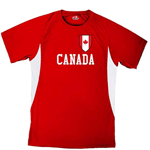 Customized Canada Soccer Jersey Adult Large in Scarlet Red and White