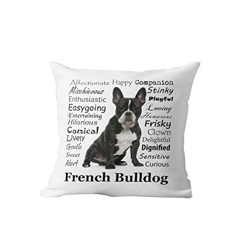 NTDRB Funda de Almohada Personalizada de Terciopelo para sofá de Sala de Estar, Almohadas Decorativas para decoración del hogar, Funda de Almohada, Bulldog francés, 45x45cm
