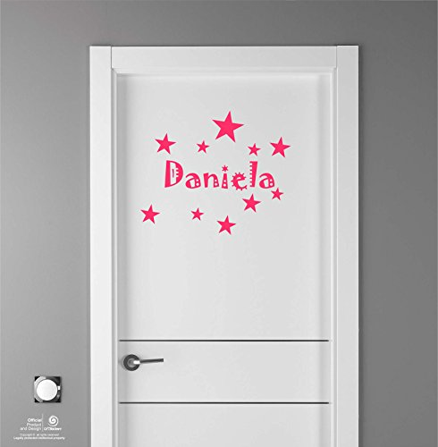 Artstickers Adhesivo Infantil para decoración de Muebles, Puertas, Paredes.Nombre: Daniela, en Color Rosa Nombre de 20cm + Kit de 10 Estrellas para Libre colocación.