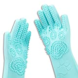 Srtood Pet Grooming Magic Gloves, Dog Cat Bathing Shampoo Brush, Silicone Hair Removal Gloves with Thick High Density Teeth for Bathing and Messaging, Double-Side Scrubbing Gloves for Shedding