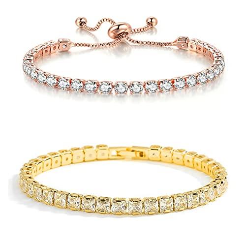 18K Gold & Rose Gold Plated Sparkling Princes Cut Cubic Zirconia Classic gold Tennis Bracelet for women Ladies Girl men,Hypoallergenic Regulating length Slide fastener gold jewelry love bracelet