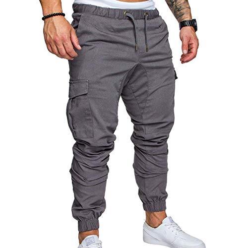 AchidistviQ Herren-Cargohose in Übergröße, einfarbig, mit mehreren Taschen, Kordelzug, Knöchelbindung, Hose, Hip-Hop-Hose, lässiger Overall, hellgrau, M
