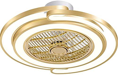 WEM Luces de ventilador LED, luces de techo LED, luces de ventilador invisibles modernas, luz de hogar simple y creativa de lujo, luces de dormitorio redondas
