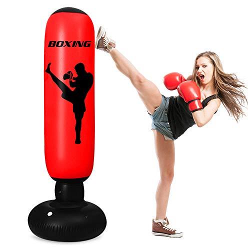 Inflatable Punching Bag for Kids and Adults, 63Inch Punching Bag Freestanding Bounce Back Boxing Bag Fitness Punching Bag MMA Tumbler Sandbag for Karate Taekwondo Kick and Hits Training