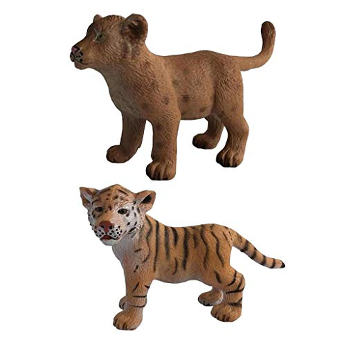 LOVIVER 2 Pcs Mini Widlife Animaux Chiffres Lion Tigre Home Yard Décor Classement Libre
