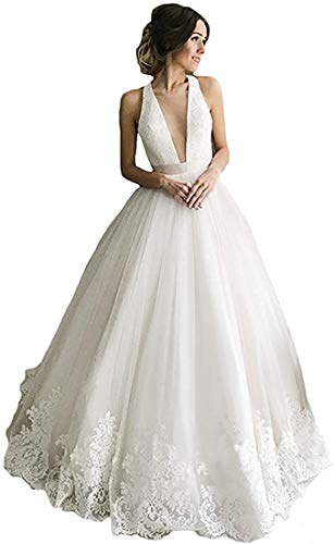 iluckin Sexy Women's V Neck Backless A line Wedding Dresses with Train Lace Bridal Ball Gown for Bride White Ivory